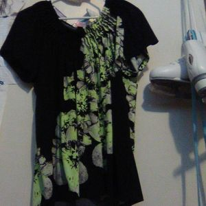 Green and black blouse